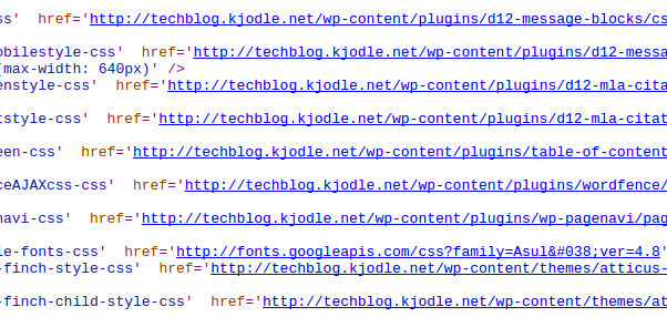 An example of WordPress source code.